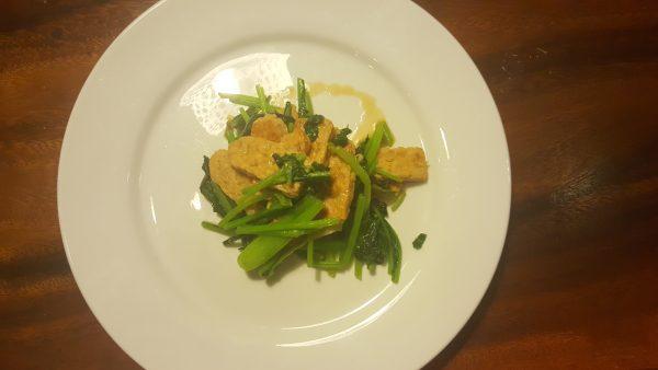 Healthy Stir Fried Spinach and Tempeh ស្សណ្តែកសៀង ចំហុយពៃចង្កឹះ
